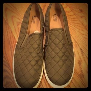 Olive Green Quilted slip-ons.